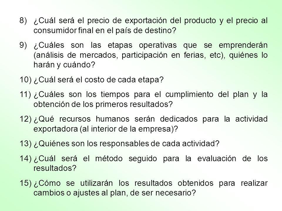 8) ¿Cuál será el precio de exportación del producto y el precio al consumidor final en el país de destino