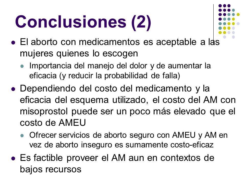 Conclusiones (2) El aborto con medicamentos es aceptable a las mujeres quienes lo escogen.