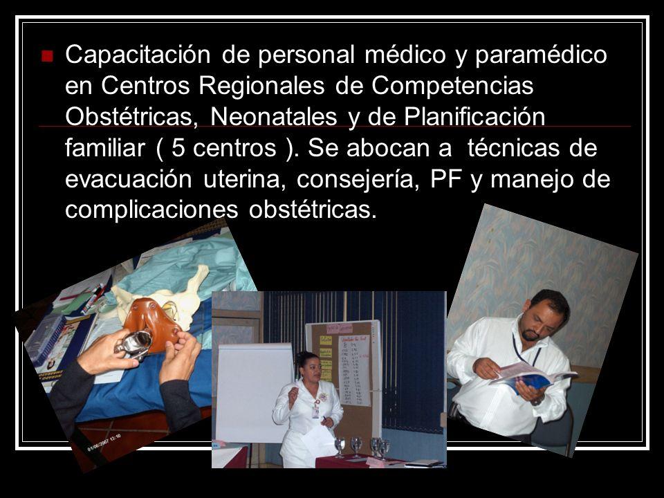 Capacitación de personal médico y paramédico en Centros Regionales de Competencias Obstétricas, Neonatales y de Planificación familiar ( 5 centros ).