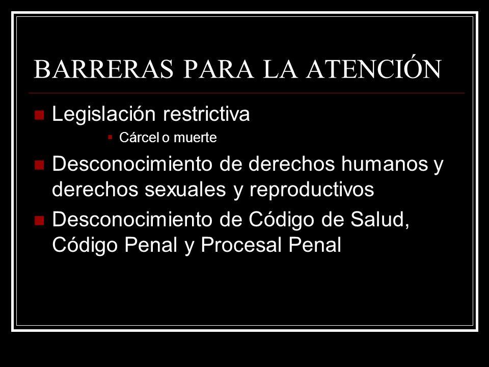 BARRERAS PARA LA ATENCIÓN