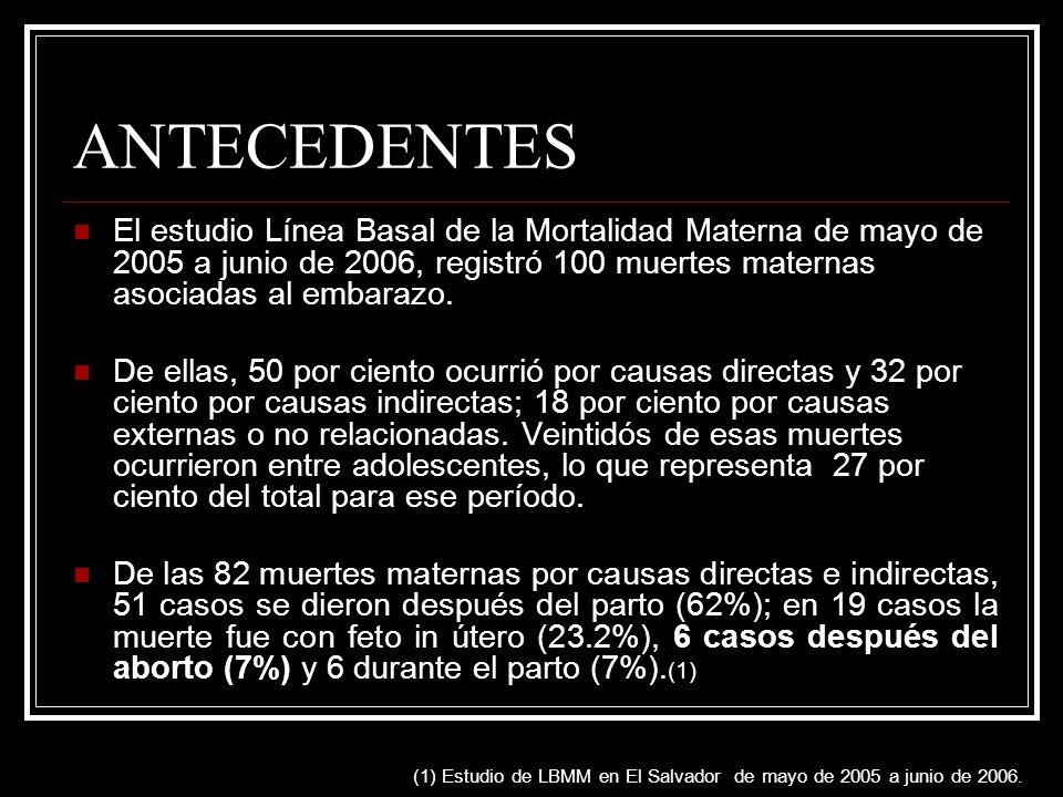 ANTECEDENTES El estudio Línea Basal de la Mortalidad Materna de mayo de 2005 a junio de 2006, registró 100 muertes maternas asociadas al embarazo.