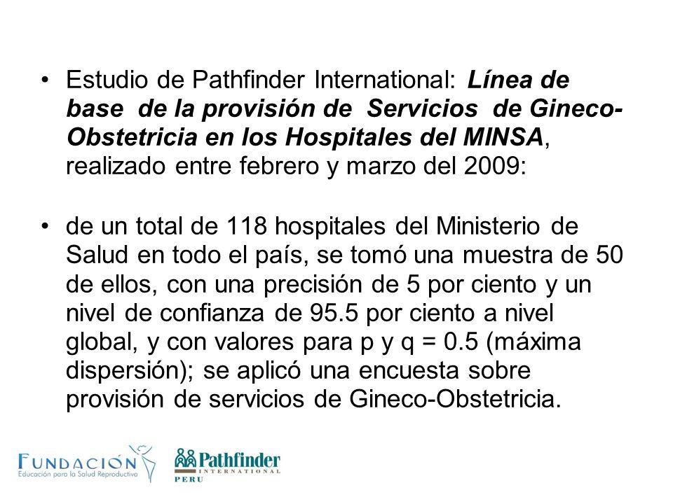 Estudio de Pathfinder International: Línea de base de la provisión de Servicios de Gineco-Obstetricia en los Hospitales del MINSA, realizado entre febrero y marzo del 2009: