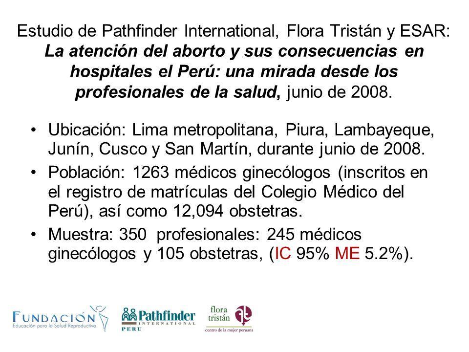 Estudio de Pathfinder International, Flora Tristán y ESAR: La atención del aborto y sus consecuencias en hospitales el Perú: una mirada desde los profesionales de la salud, junio de 2008.