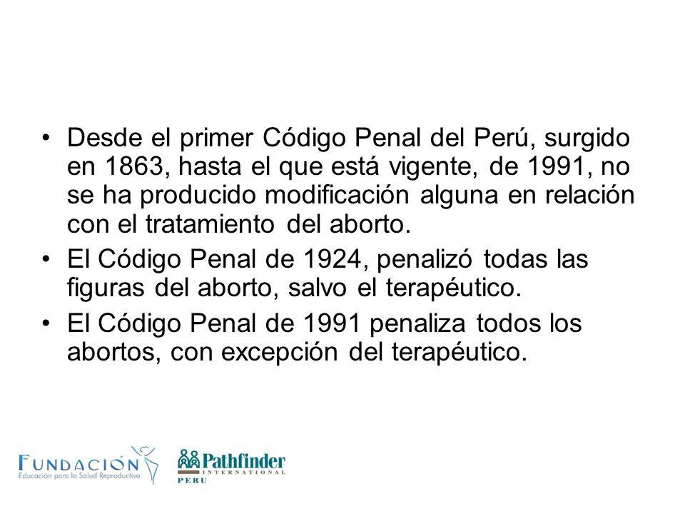 Desde el primer Código Penal del Perú, surgido en 1863, hasta el que está vigente, de 1991, no se ha producido modificación alguna en relación con el tratamiento del aborto.