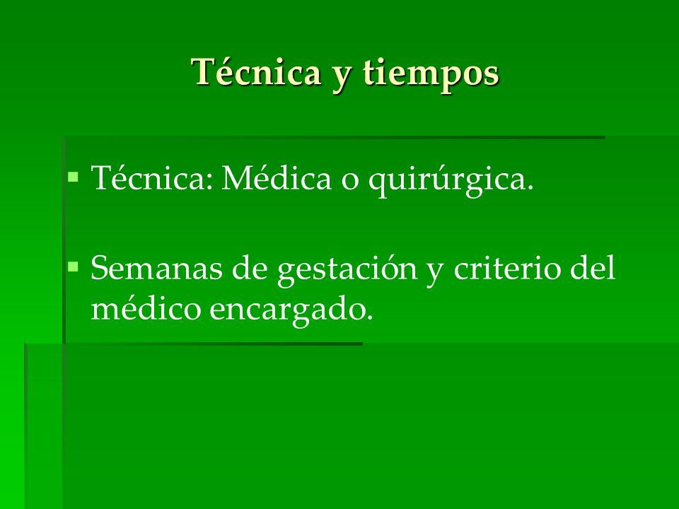 Técnica y tiempos Técnica: Médica o quirúrgica.