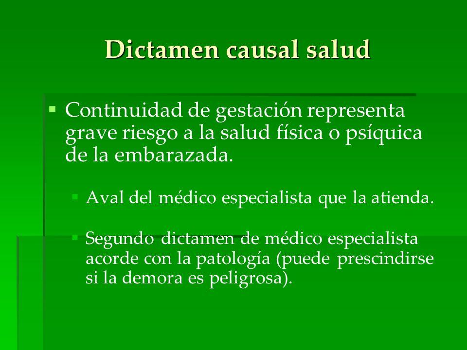 Dictamen causal salud Continuidad de gestación representa grave riesgo a la salud física o psíquica de la embarazada.