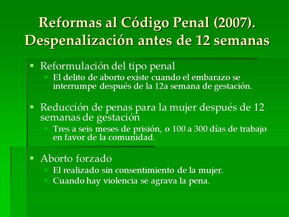 Reformas al Código Penal (2007). Despenalización antes de 12 semanas