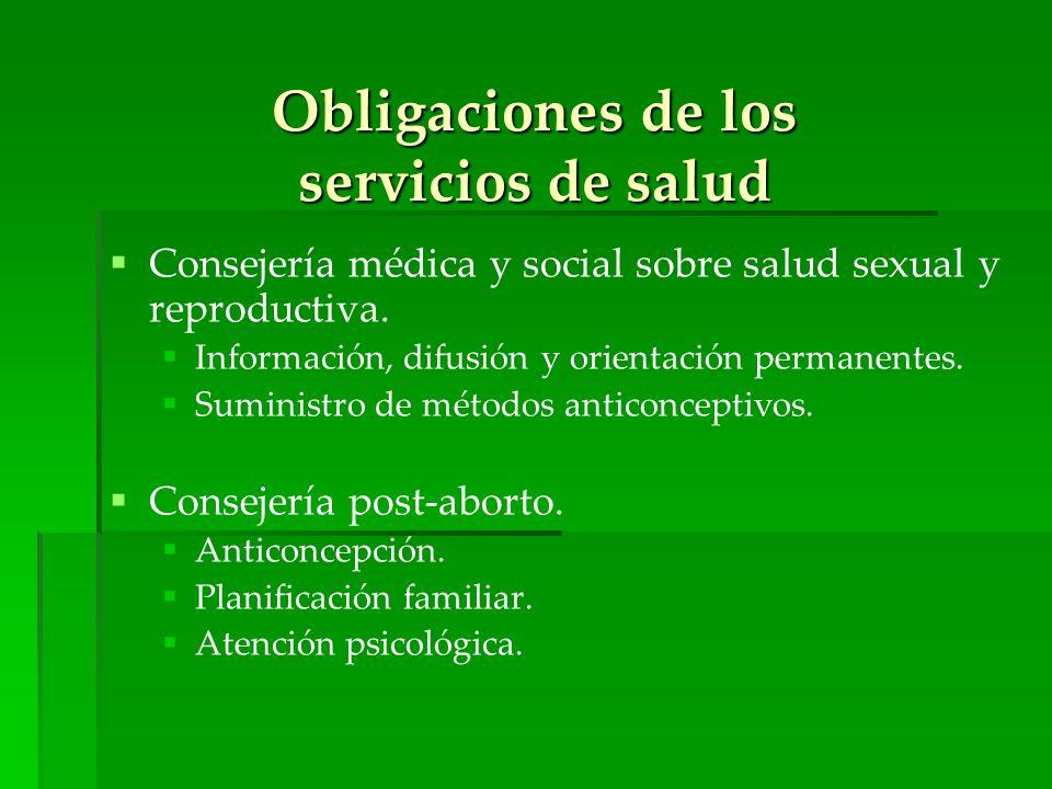 Obligaciones de los servicios de salud