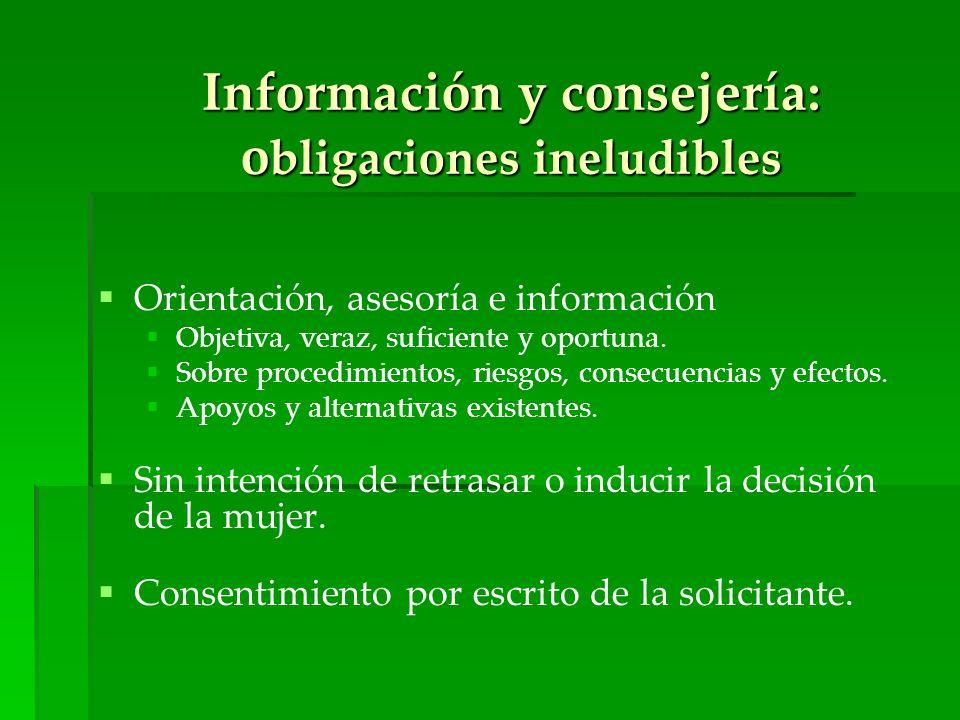 Información y consejería: obligaciones ineludibles