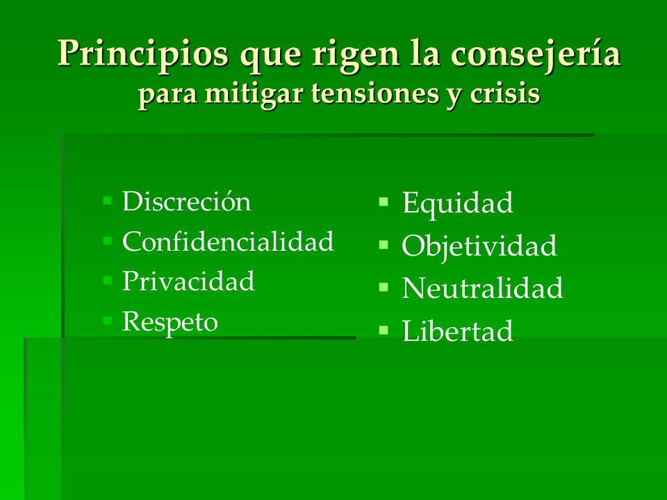 Principios que rigen la consejería para mitigar tensiones y crisis