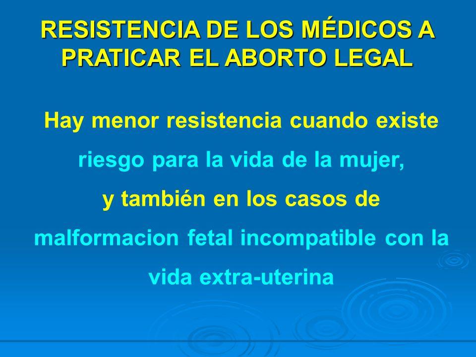 RESISTENCIA DE LOS MÉDICOS A PRATICAR EL ABORTO LEGAL