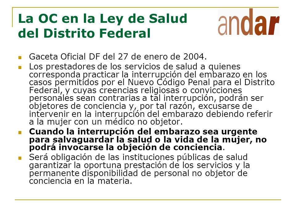 La OC en la Ley de Salud del Distrito Federal