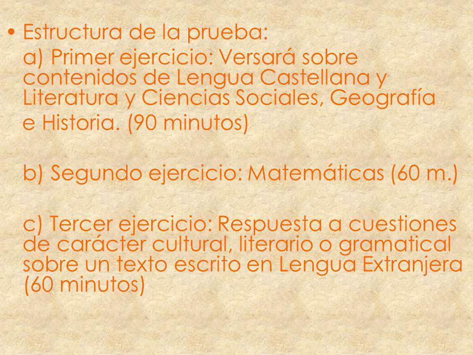 Estructura de la prueba: