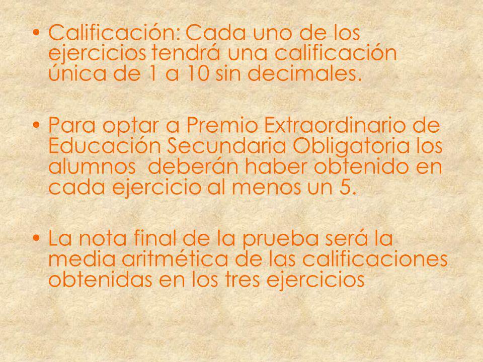 Calificación: Cada uno de los ejercicios tendrá una calificación única de 1 a 10 sin decimales.