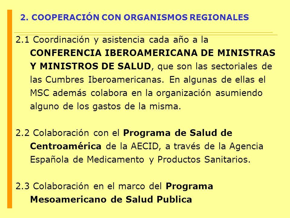 2. COOPERACIÓN CON ORGANISMOS REGIONALES
