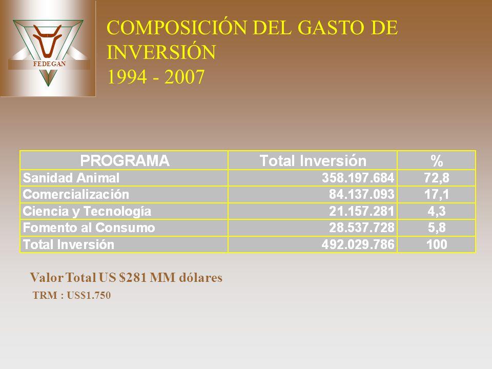 COMPOSICIÓN DEL GASTO DE INVERSIÓN 1994 - 2007