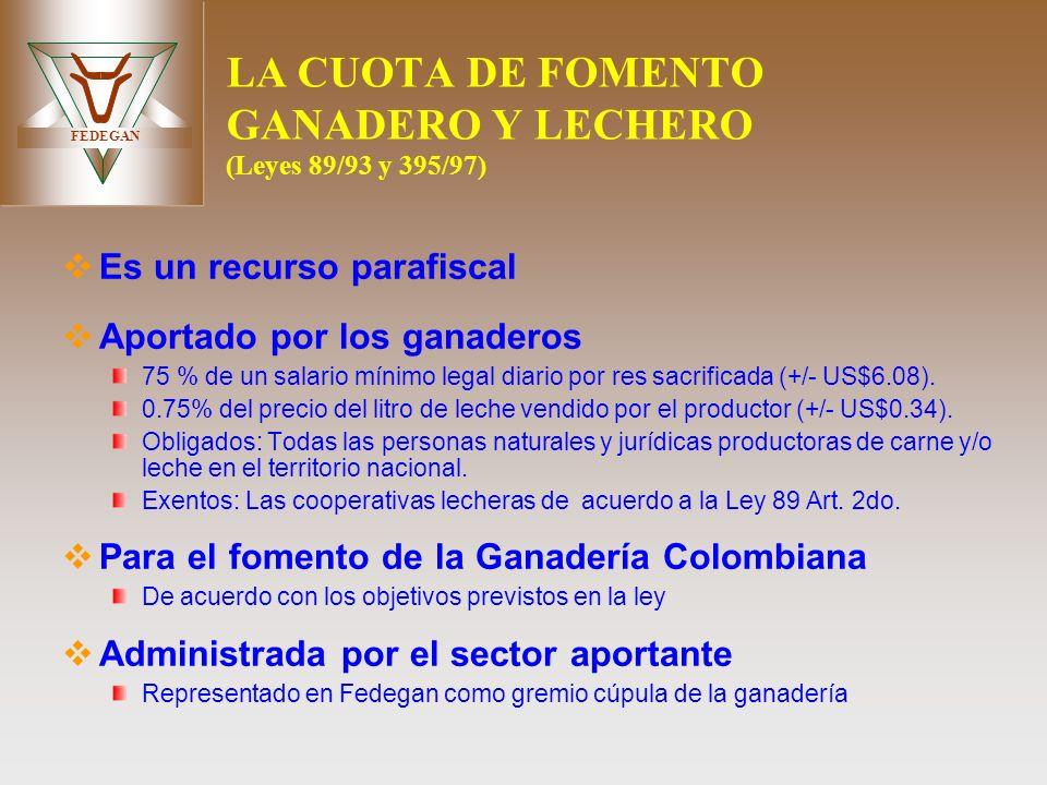 LA CUOTA DE FOMENTO GANADERO Y LECHERO (Leyes 89/93 y 395/97)
