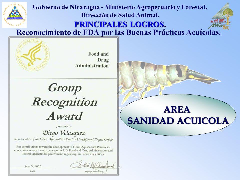 AREA SANIDAD ACUICOLA PRINCIPALES LOGROS.