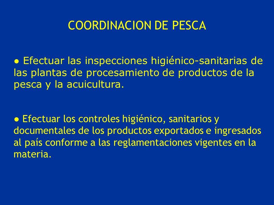 COORDINACION DE PESCA Efectuar las inspecciones higiénico-sanitarias de las plantas de procesamiento de productos de la pesca y la acuicultura.