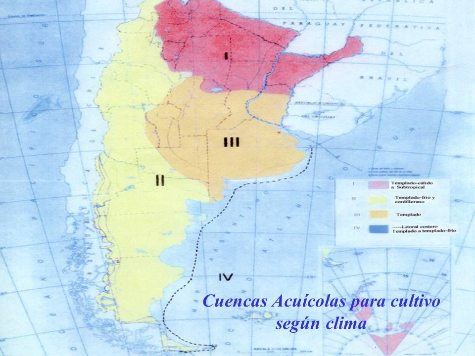 Cuencas Acuícolas para cultivo según clima