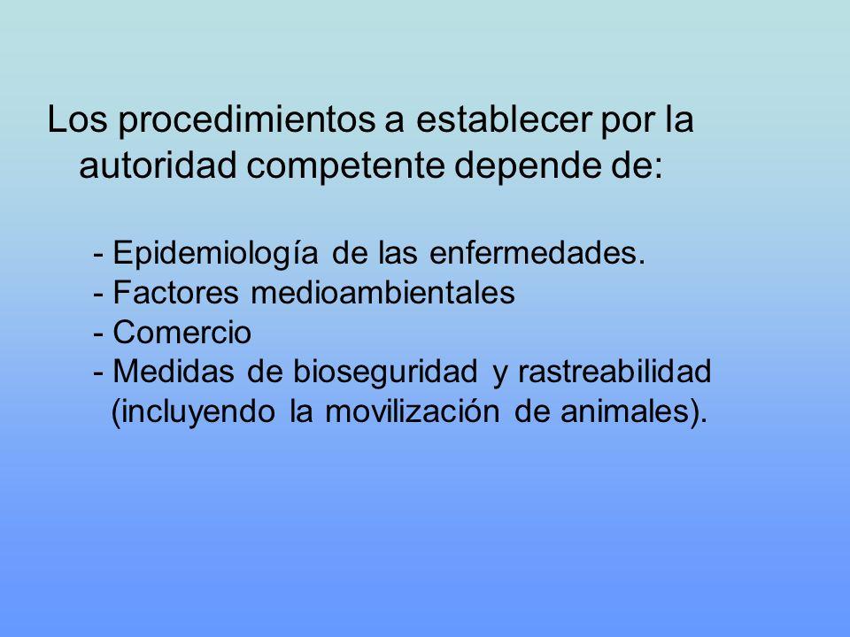 Los procedimientos a establecer por la autoridad competente depende de: