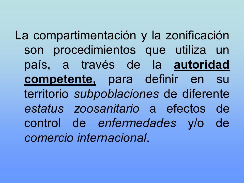 La compartimentación y la zonificación son procedimientos que utiliza un país, a través de la autoridad competente, para definir en su territorio subpoblaciones de diferente estatus zoosanitario a efectos de control de enfermedades y/o de comercio internacional.