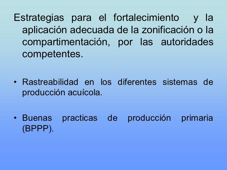 Estrategias para el fortalecimiento y la aplicación adecuada de la zonificación o la compartimentación, por las autoridades competentes.