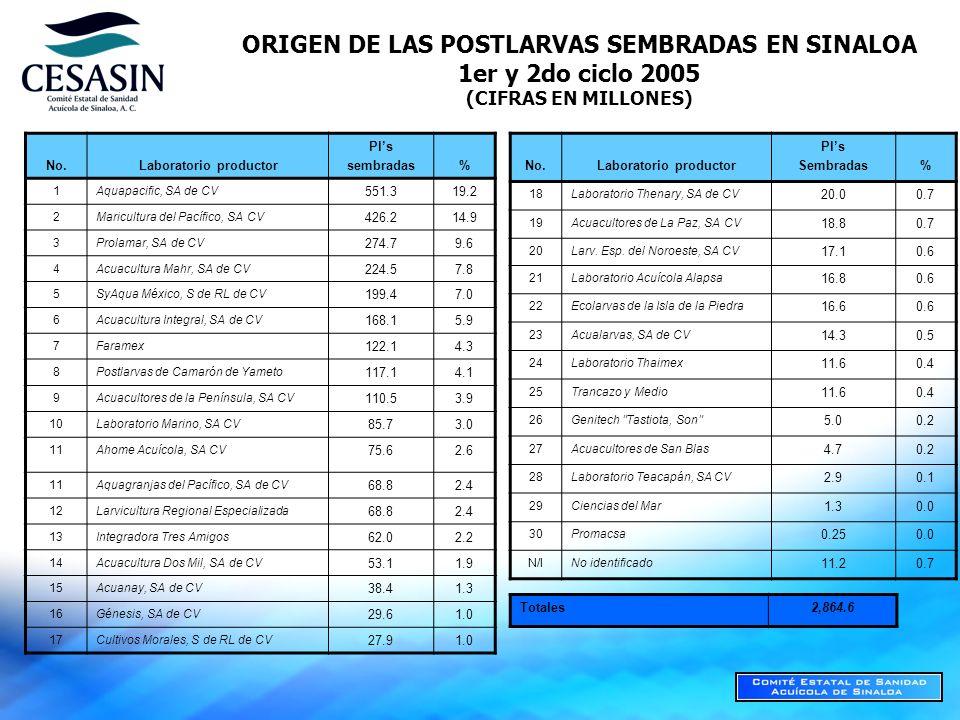 ORIGEN DE LAS POSTLARVAS SEMBRADAS EN SINALOA 1er y 2do ciclo 2005
