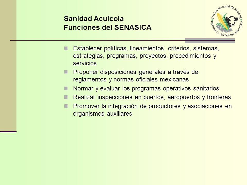 Sanidad Acuícola Funciones del SENASICA
