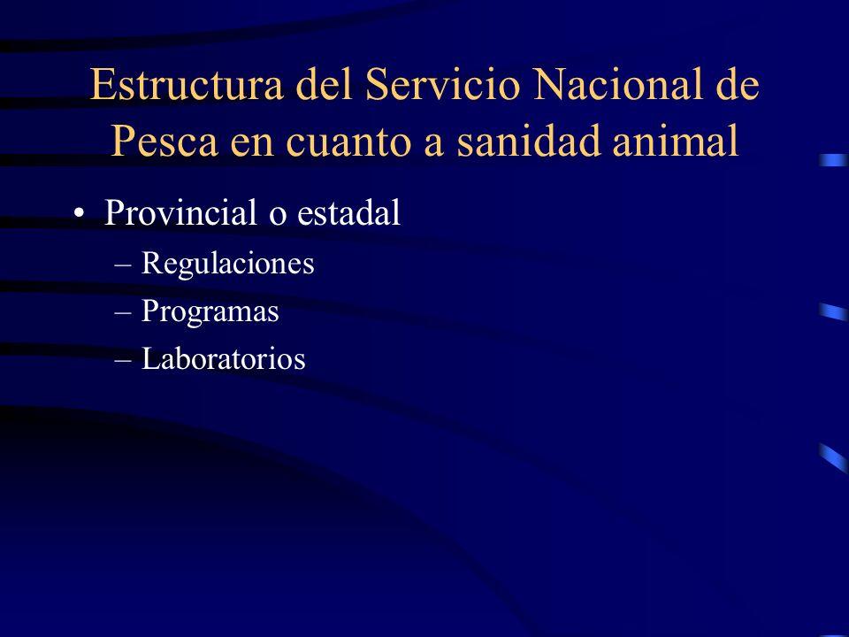 Estructura del Servicio Nacional de Pesca en cuanto a sanidad animal
