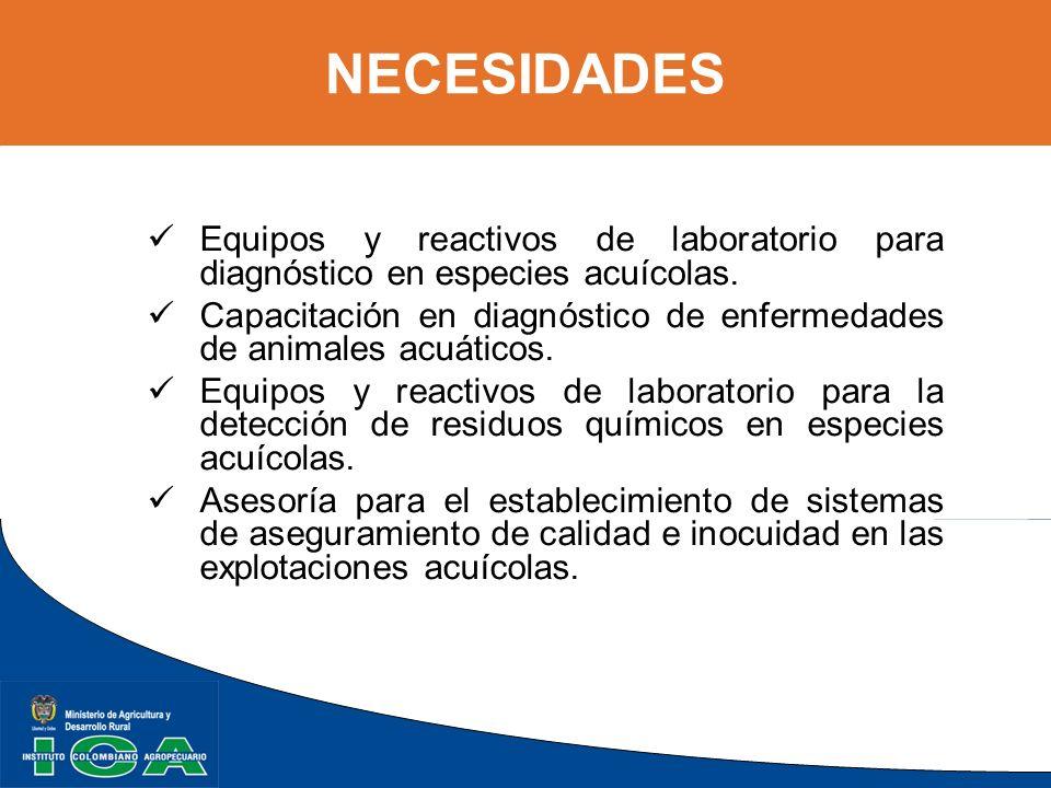 NECESIDADES Equipos y reactivos de laboratorio para diagnóstico en especies acuícolas.
