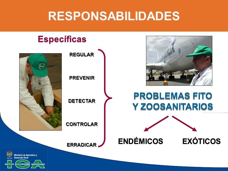 RESPONSABILIDADES Específicas PROBLEMAS FITO Y ZOOSANITARIOS ENDÉMICOS