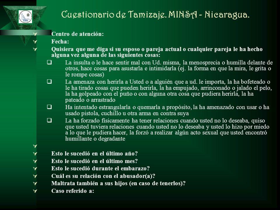 Cuestionario de Tamizaje. MINSA - Nicaragua.