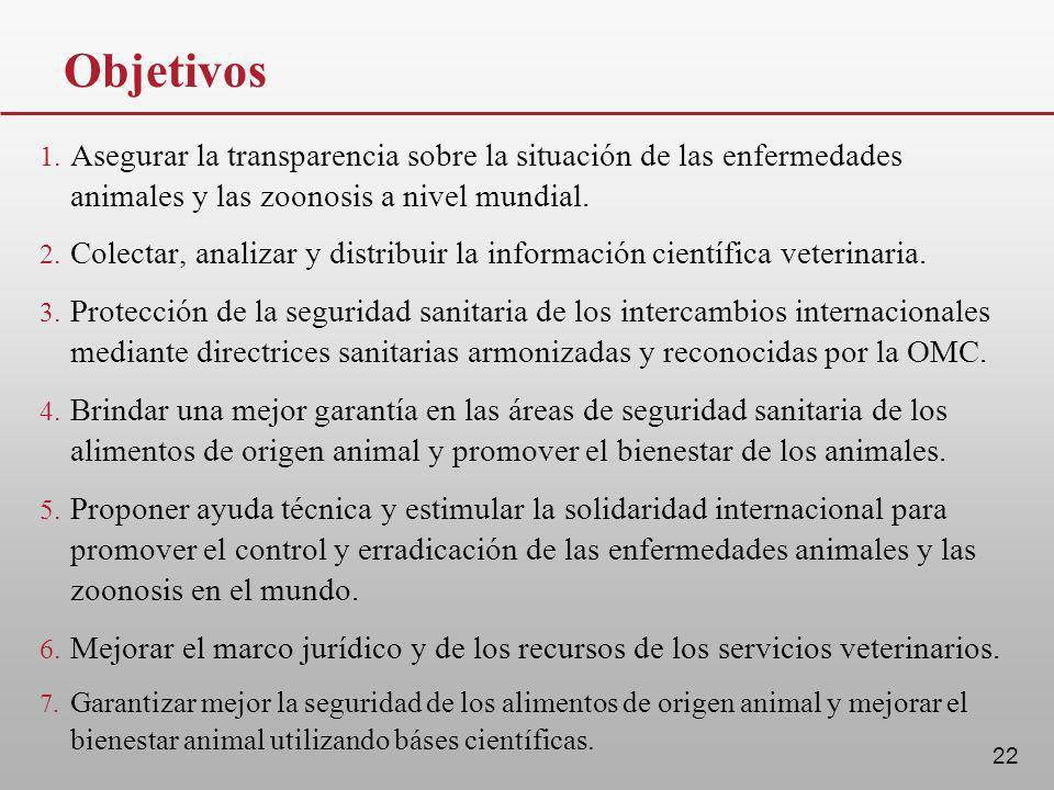Objetivos Asegurar la transparencia sobre la situación de las enfermedades animales y las zoonosis a nivel mundial.