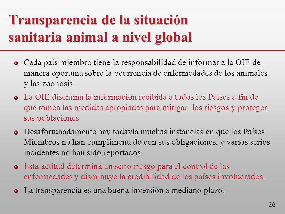 Transparencia de la situación sanitaria animal a nivel global