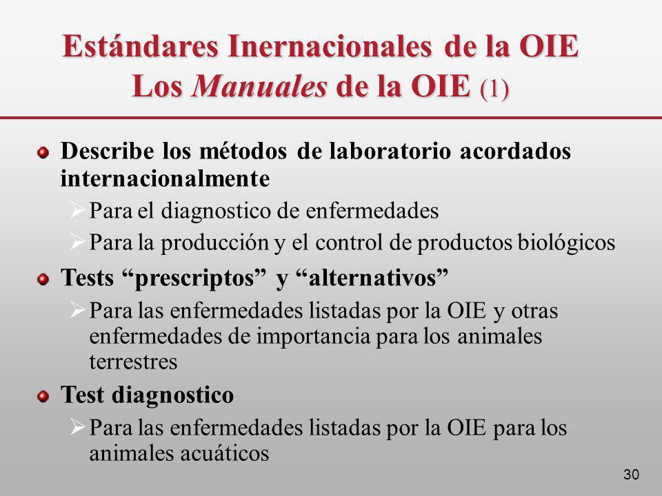 Estándares Inernacionales de la OIE Los Manuales de la OIE (1)
