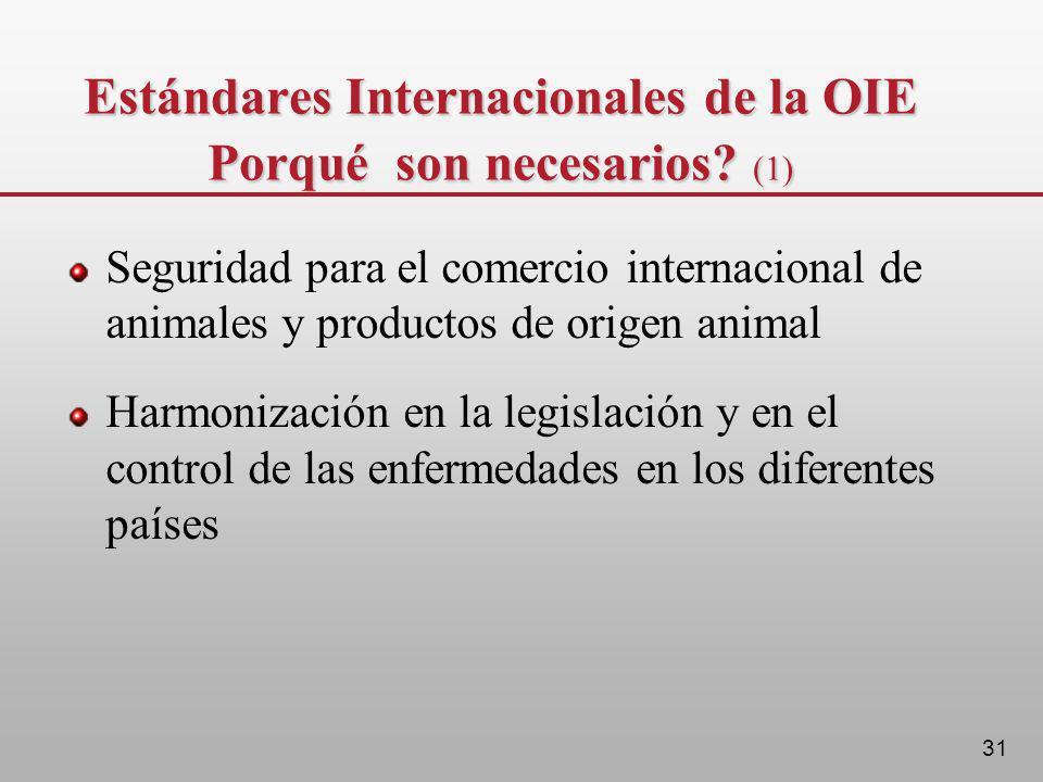 Estándares Internacionales de la OIE Porqué son necesarios (1)