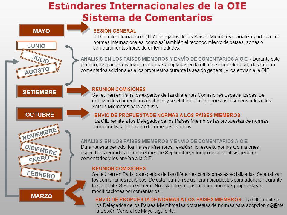 Estándares Internacionales de la OIE Sistema de Comentarios