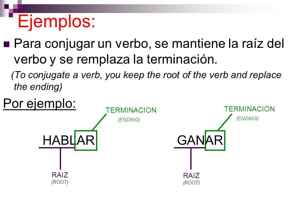 Ejemplos:Para conjugar un verbo, se mantiene la raíz del verbo y se remplaza la terminación.