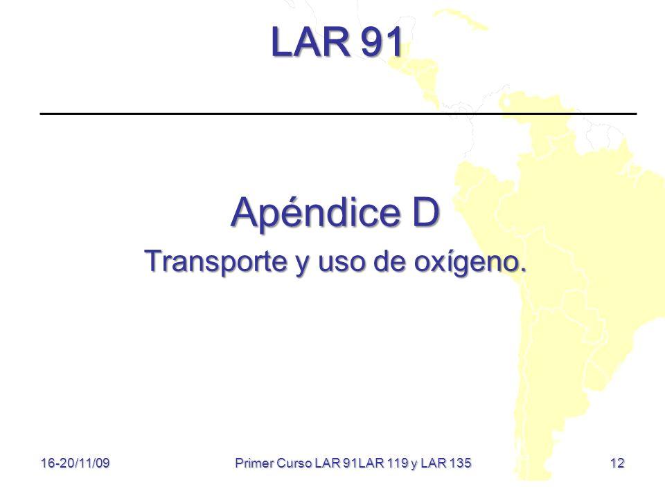 LAR 91 Apéndice D Transporte y uso de oxígeno.