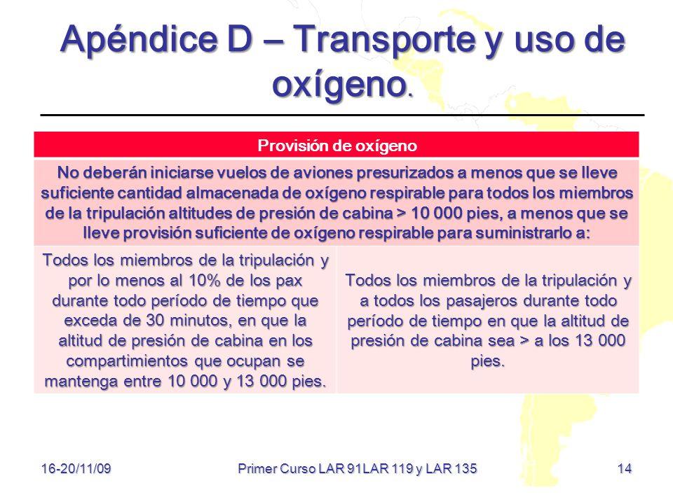 Apéndice D – Transporte y uso de oxígeno.