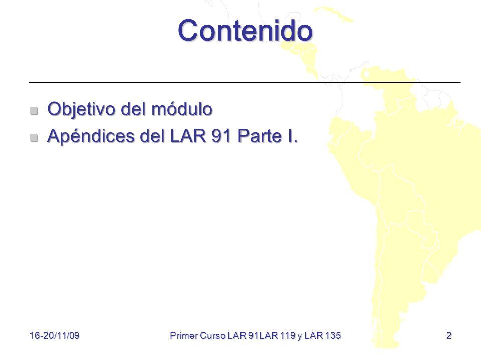 Primer Curso LAR 91LAR 119 y LAR 135