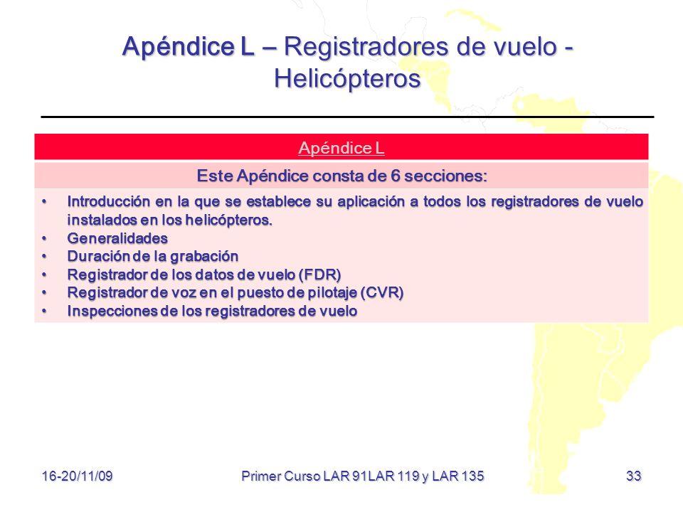 Apéndice L – Registradores de vuelo - Helicópteros