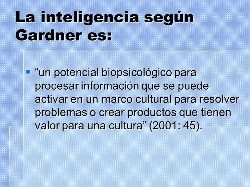 La inteligencia según Gardner es: