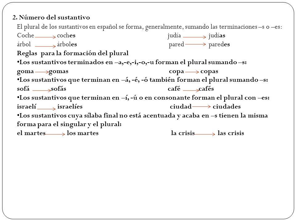 2. Número del sustantivo El plural de los sustantivos en español se forma, generalmente, sumando las terminaciones –s o –es: