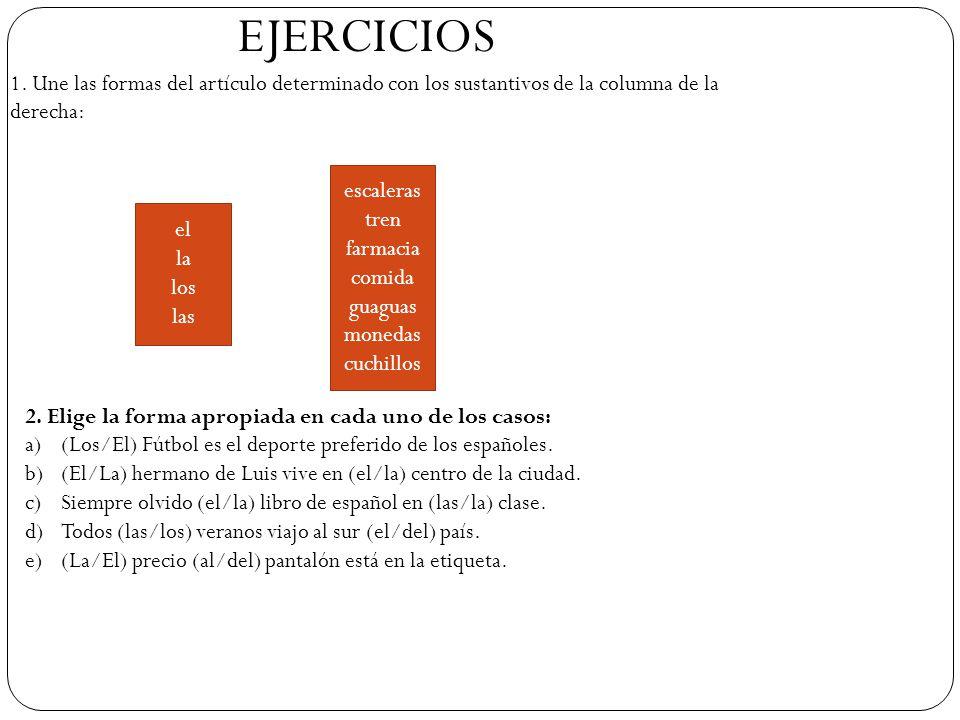 EJERCICIOS 1. Une las formas del artículo determinado con los sustantivos de la columna de la derecha: