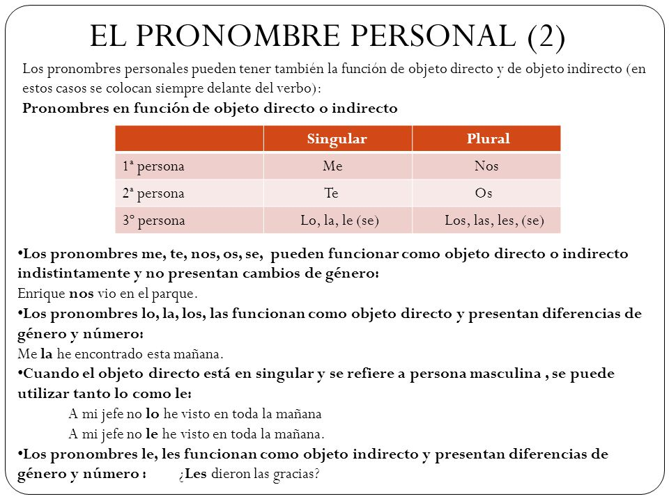 EL PRONOMBRE PERSONAL (2)