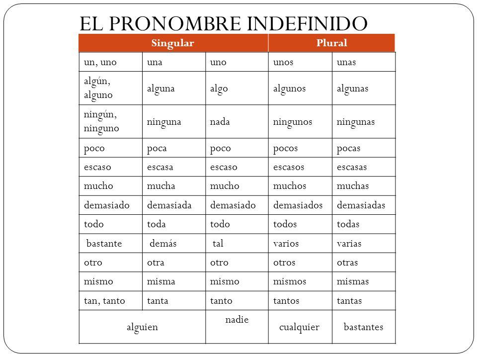 EL PRONOMBRE INDEFINIDO