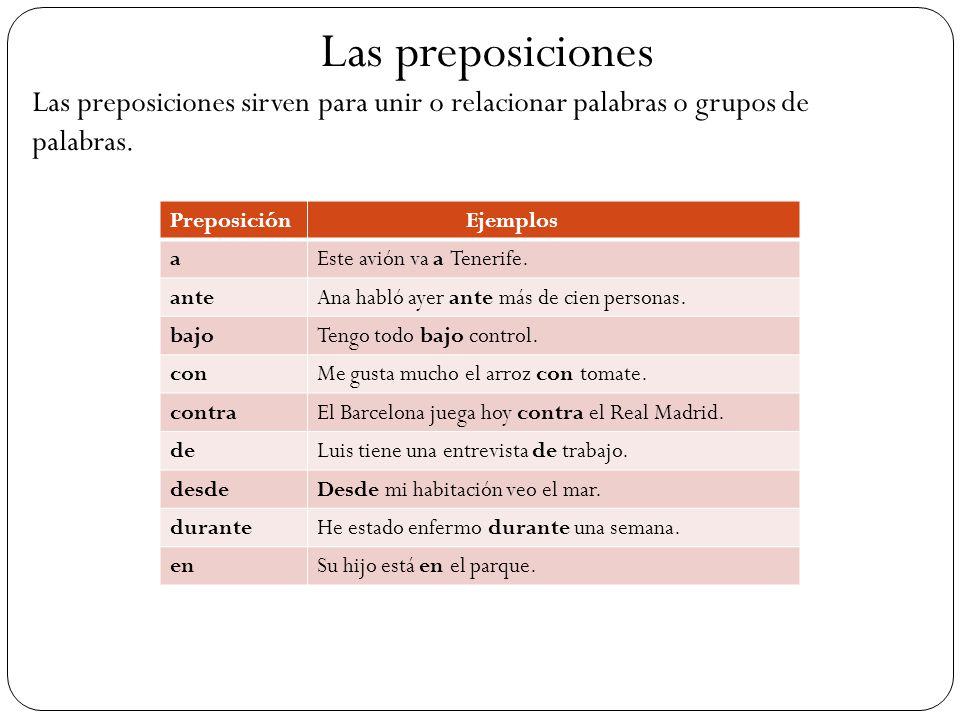 Las preposiciones Las preposiciones sirven para unir o relacionar palabras o grupos de palabras. Preposición.