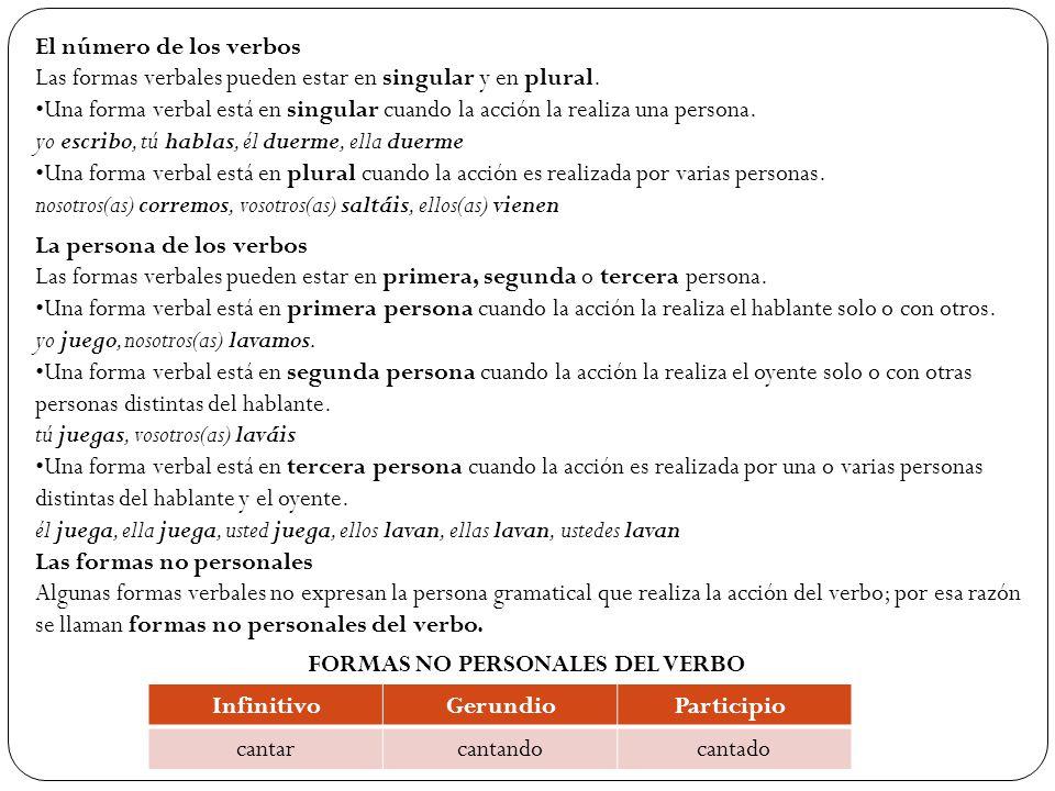 El número de los verbos Las formas verbales pueden estar en singular y en plural.